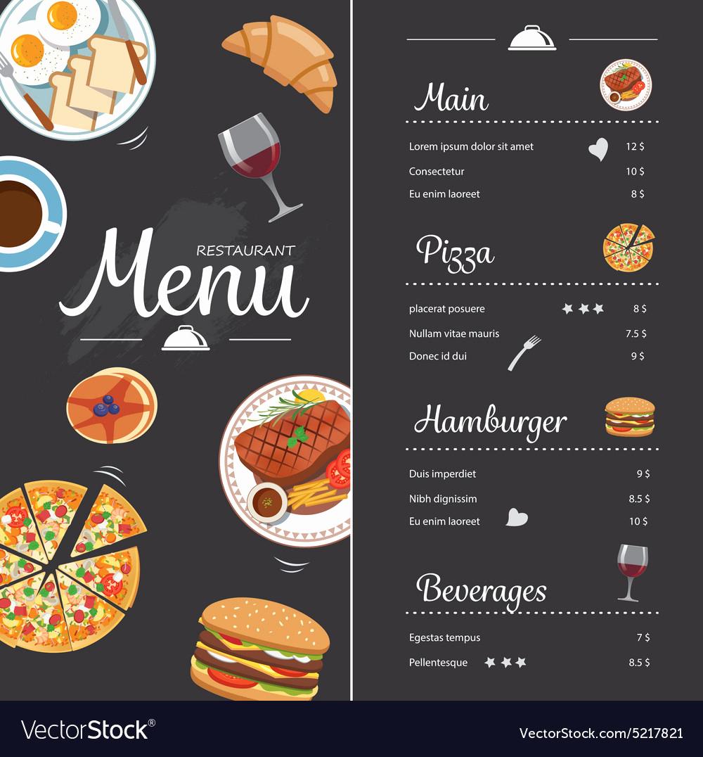 Menu Design Ideas Template Awesome Restaurant Food Menu Design with Chalkboard Vector Image