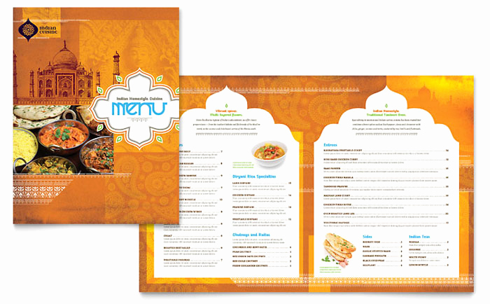 Menu Design Ideas Template Elegant Indian Restaurant Menu Template Design