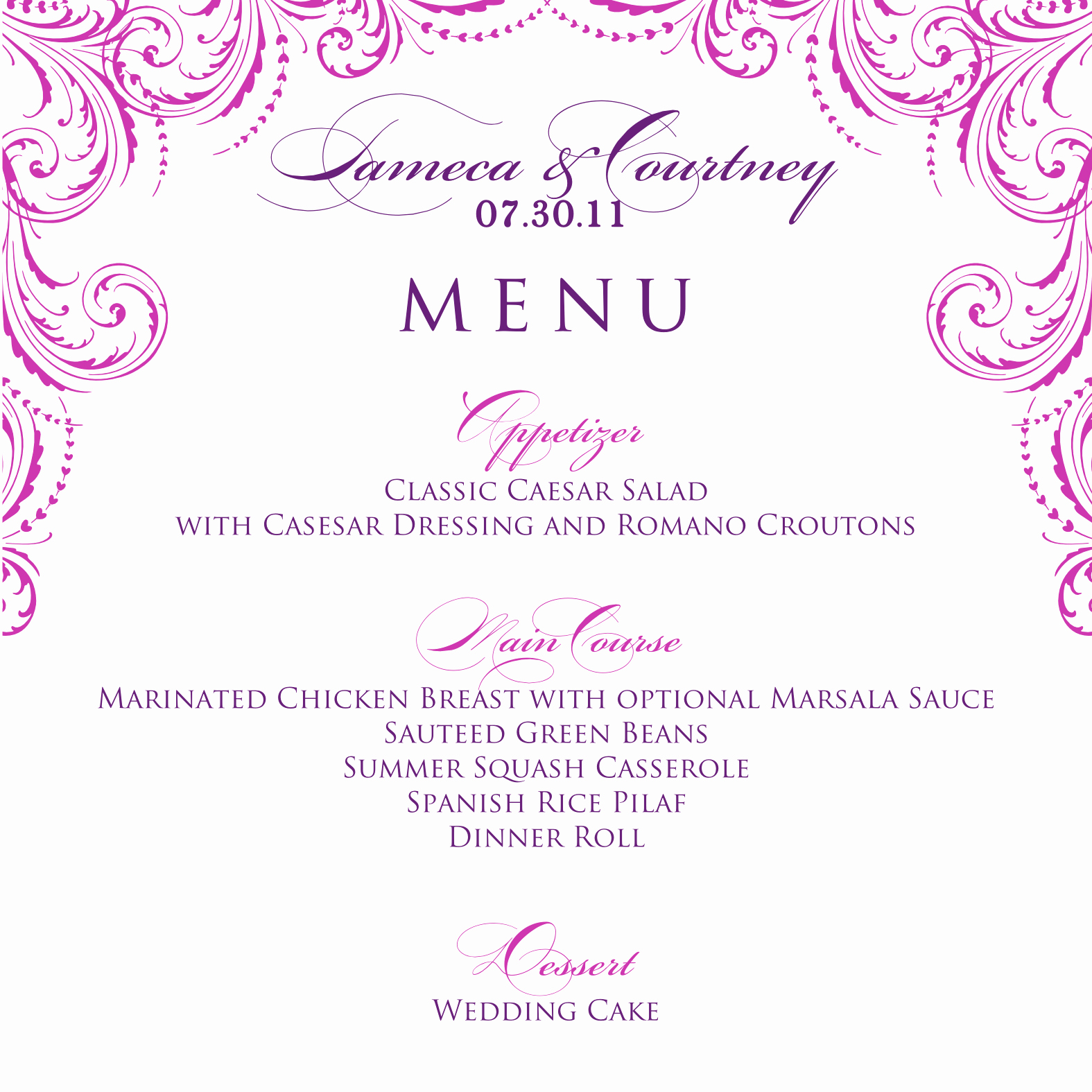 Menu Design Ideas Template Fresh Signatures by Sarah Wedding Menu and Program for Tameca