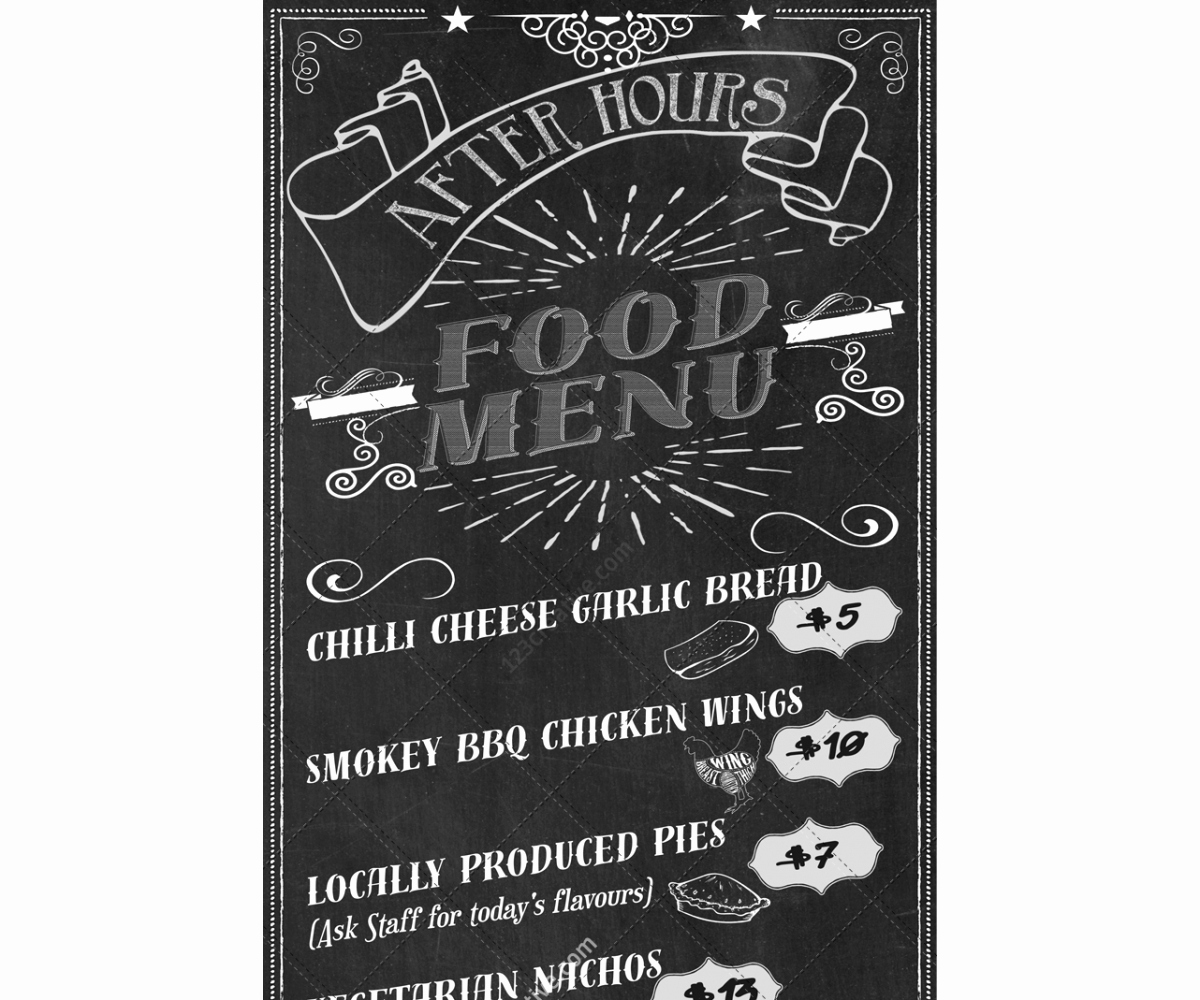 Menu Design Ideas Template Lovely Retro Chalkboard Food Menu Template Pizza Snack Bar