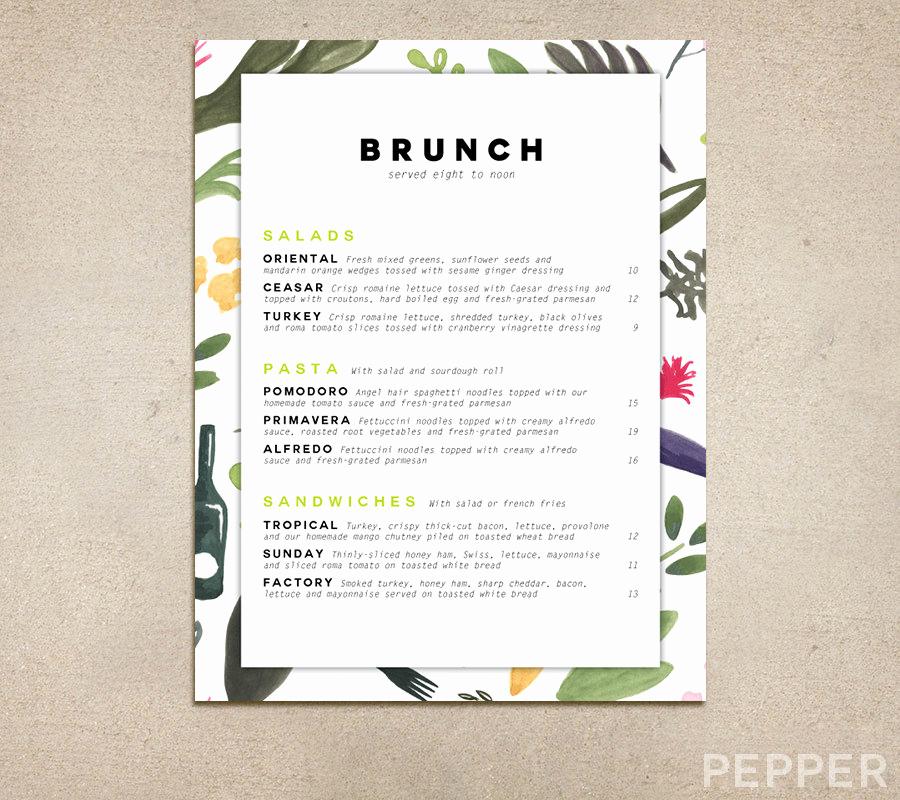 Menu Design Ideas Template Luxury 14 Brunch Menu Designs and Examples Psd Ai