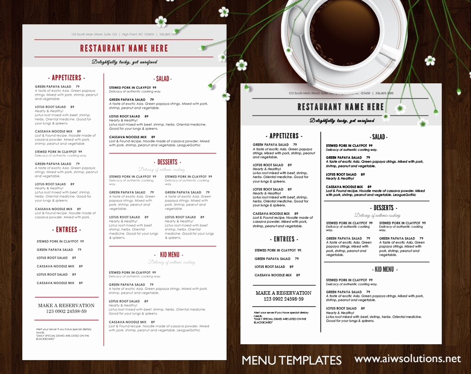 Menu Design Ideas Template New Restaurant Menu Brochure Templates Creative Market