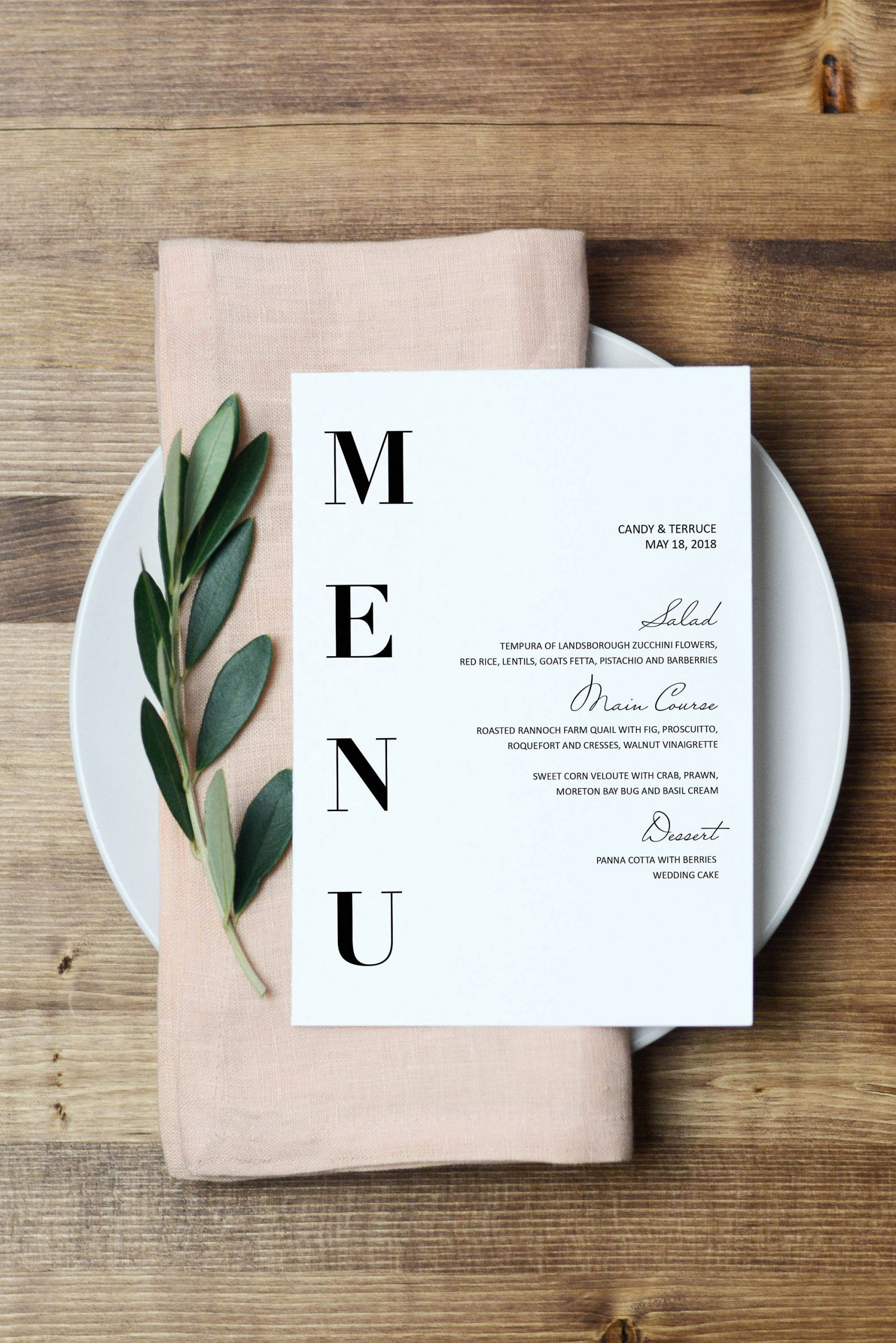 Menu Design Ideas Template New Wedding Menu Template Modern Menu Cards Template Minimal