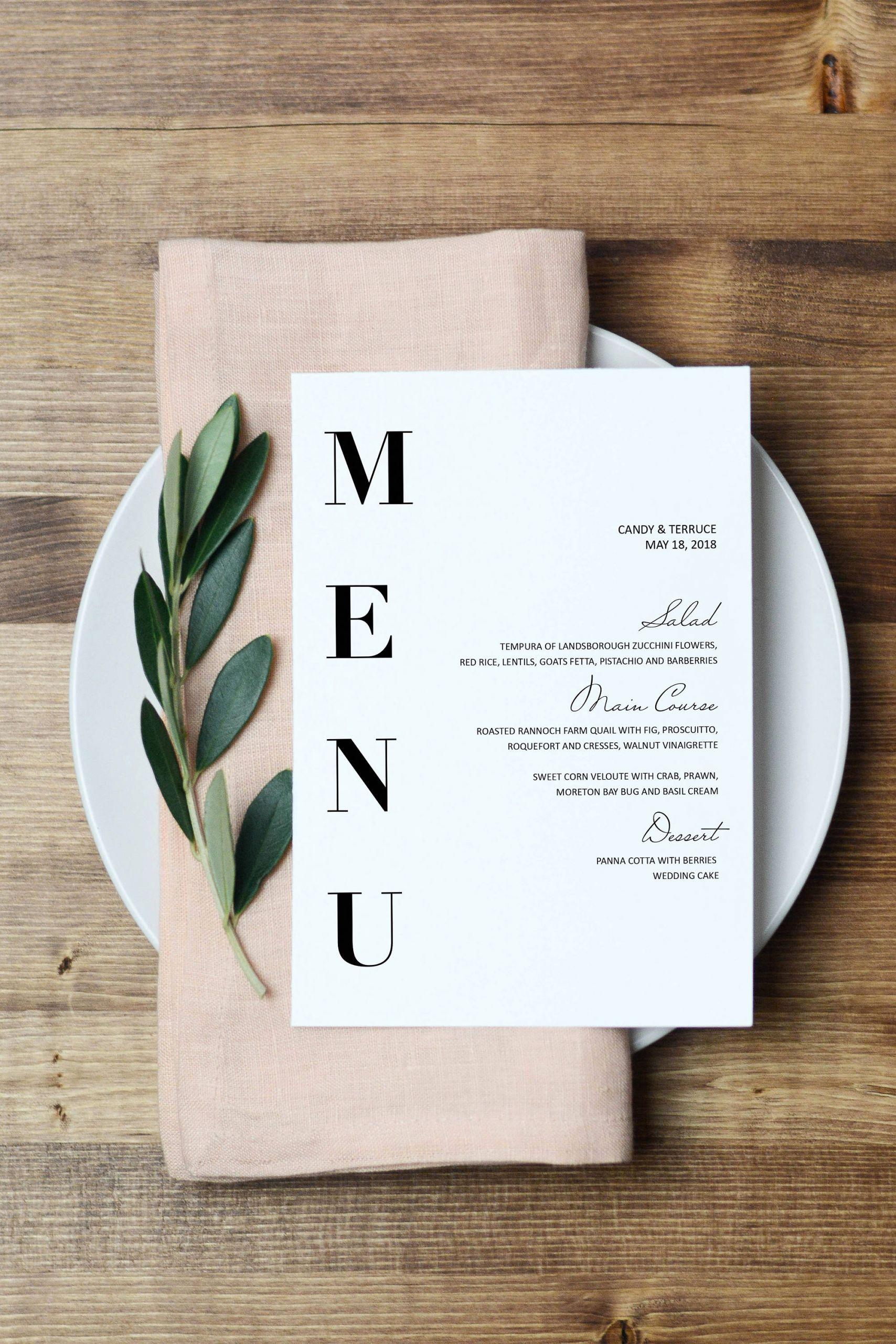 Menu Design Ideas Template New Wedding Menu Template Modern Menu Cards Template Minimal