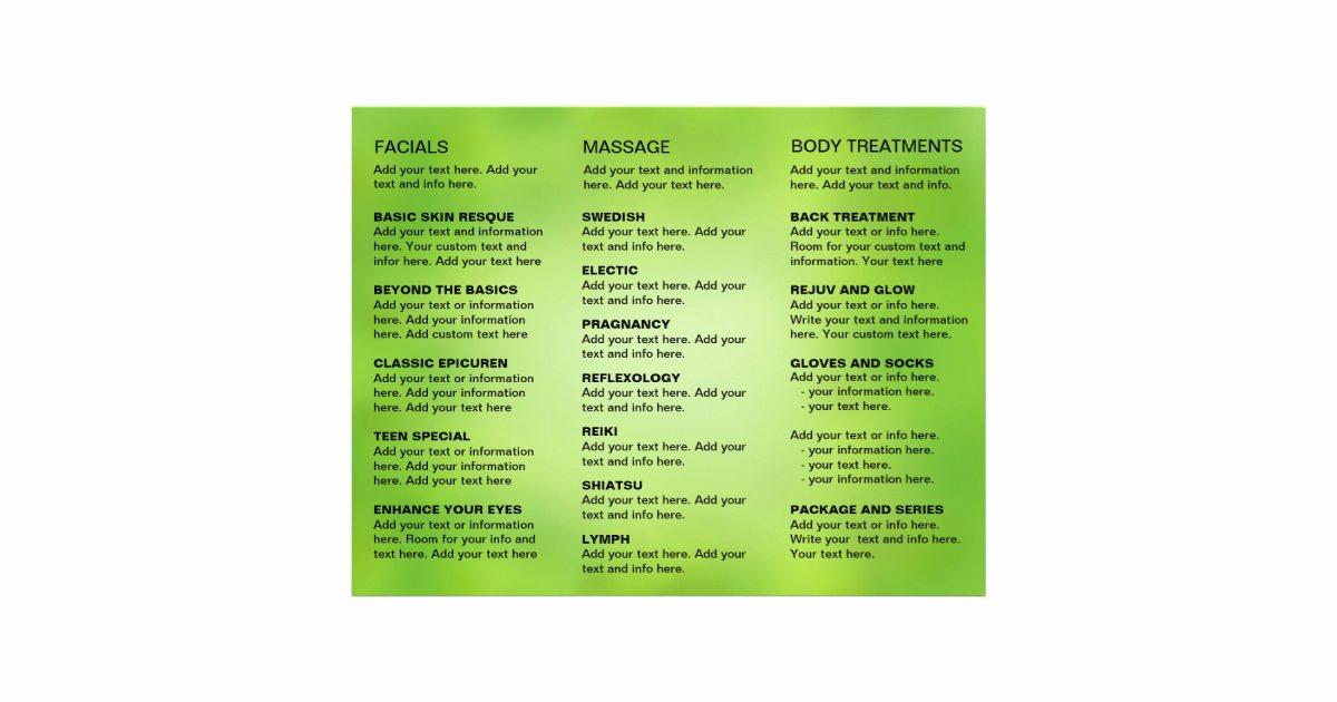 Menu Of Services Template Fresh Spa Massage Salon Service Menu Brochure Template