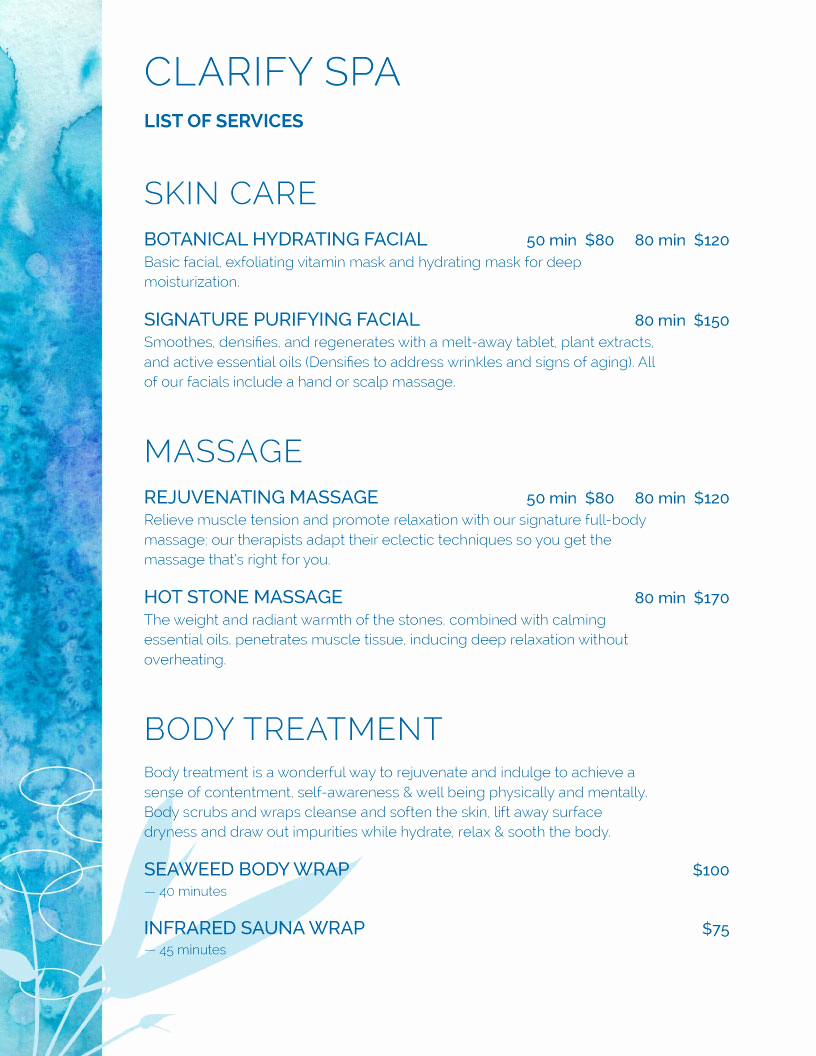 Menu Of Services Template Inspirational Spa Menu Templates and Designs From Imenupro