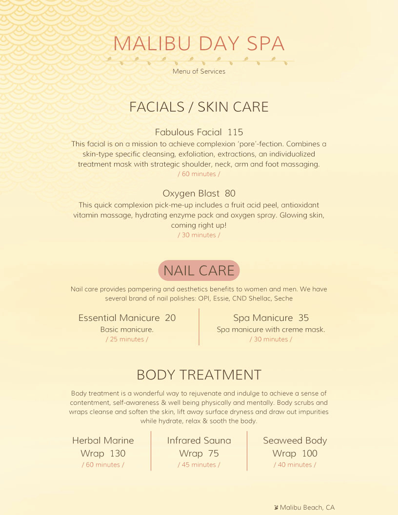 Menu Of Services Template Luxury Spa Menu Templates and Designs From Imenupro