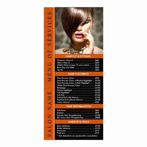 Menu Of Services Template New Hair Nail Salon Rack Card Template Service Menu