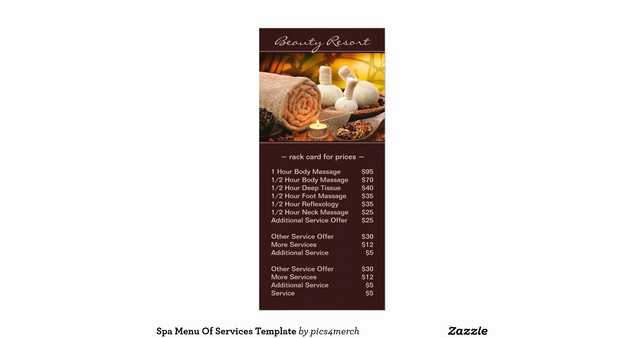 Menu Of Services Template New Spa Menu Of Services Template Rack Cards