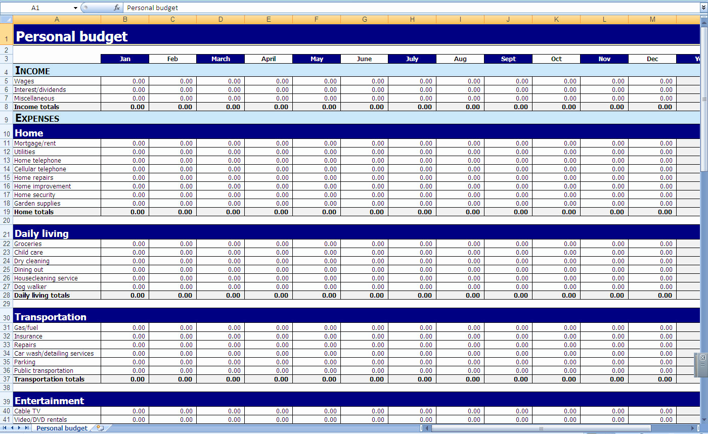 Microsoft Excel Budget Template Fresh Excel Templates Personal Finances