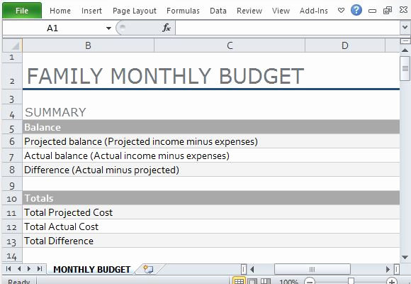 Microsoft Excel Budget Template Unique Monthly Family Bud Template for Excel