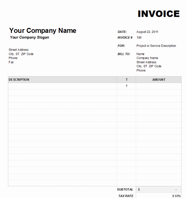 Microsoft Invoice Template Free Beautiful Blank Invoice Download