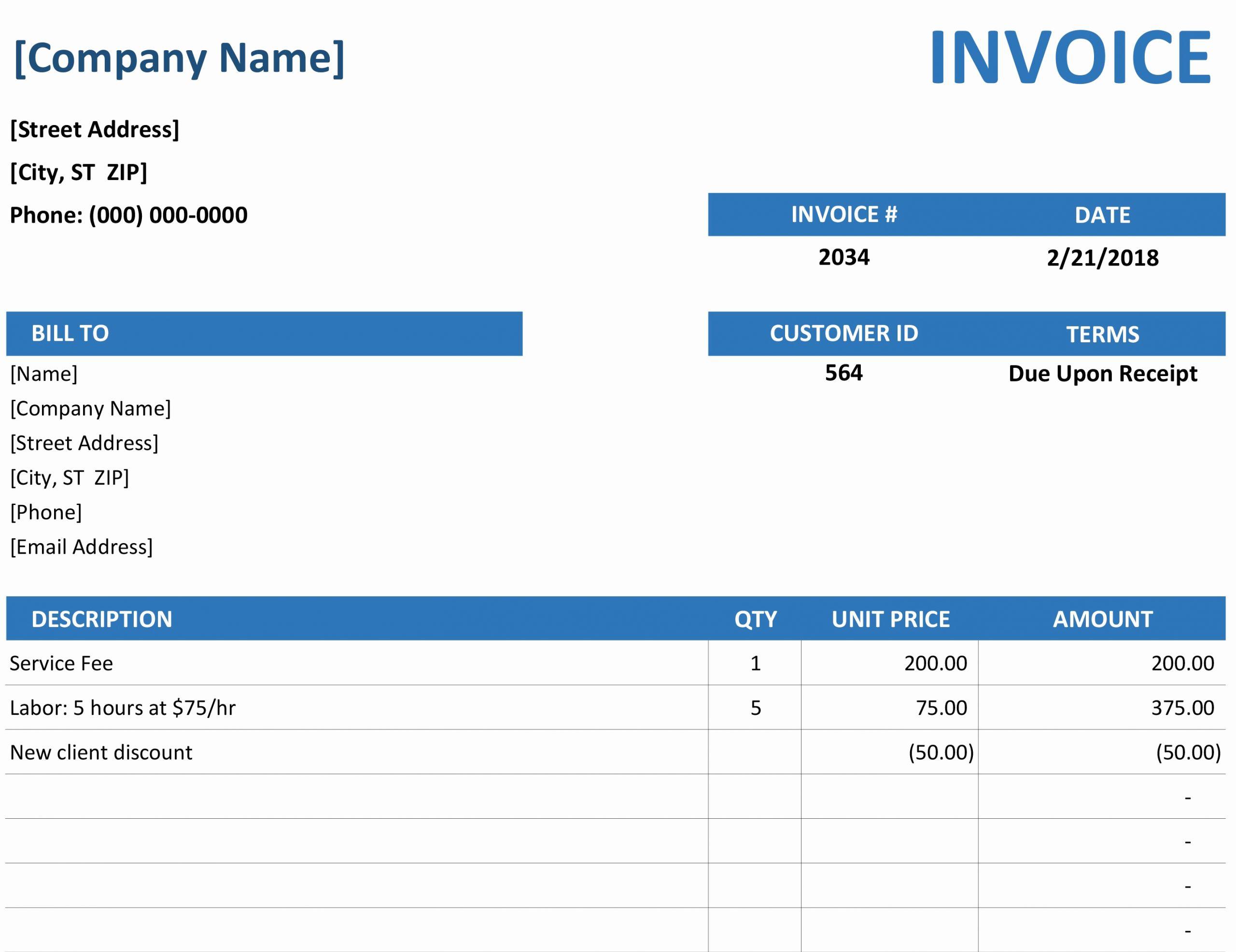 Microsoft Invoice Template Free Fresh Invoices Fice