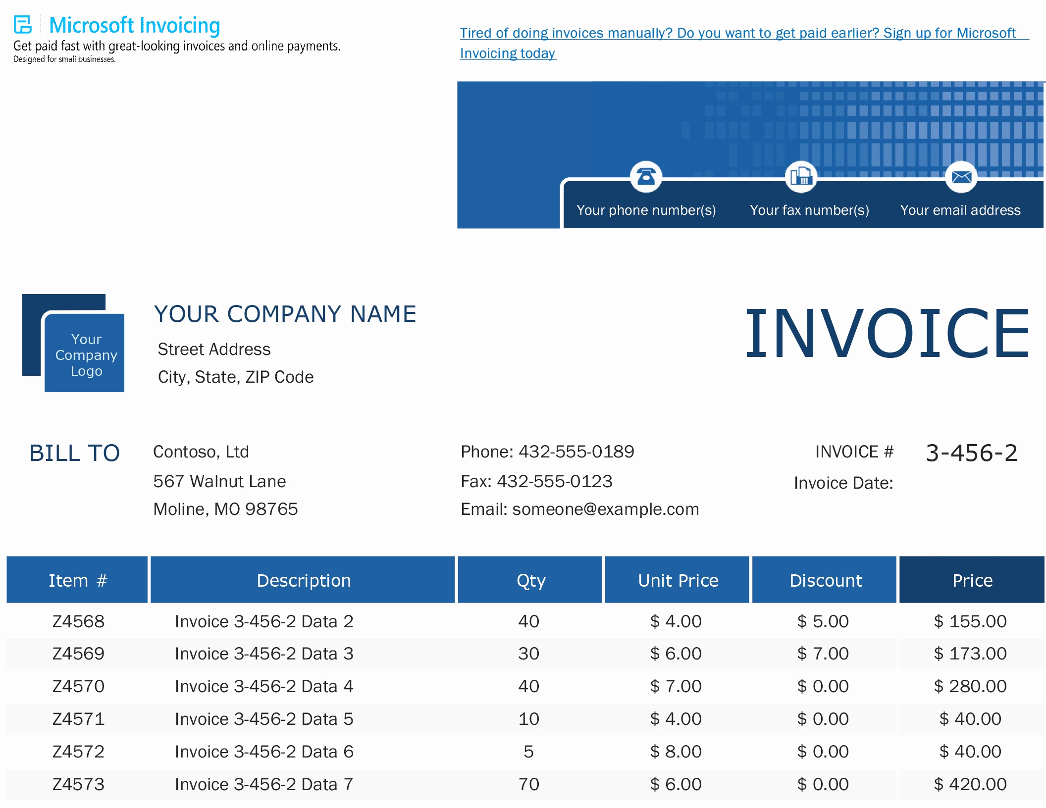 Microsoft Invoice Template Free Lovely Invoices Fice