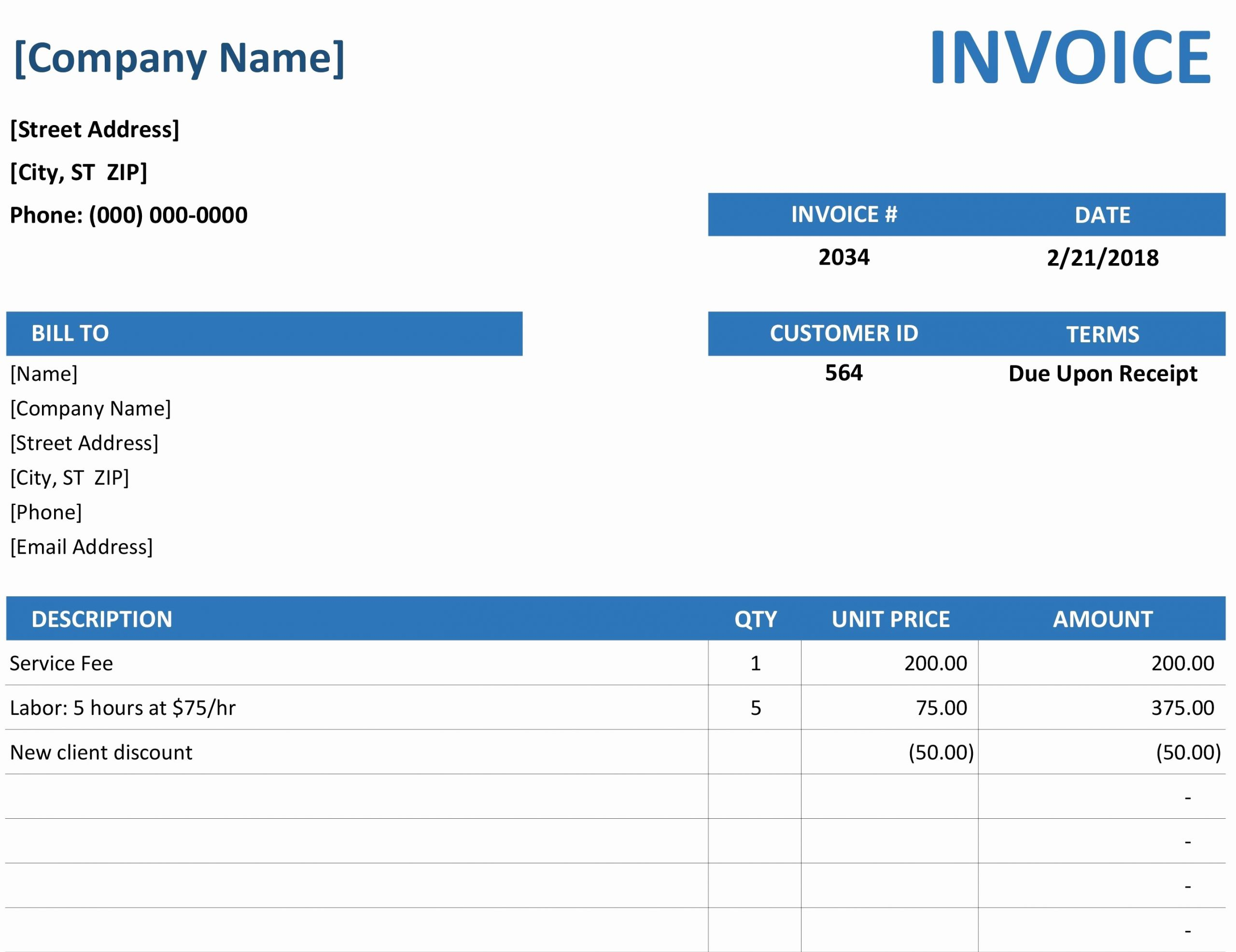 Microsoft Invoice Template Free Luxury Microsoft Fice Invoice Template