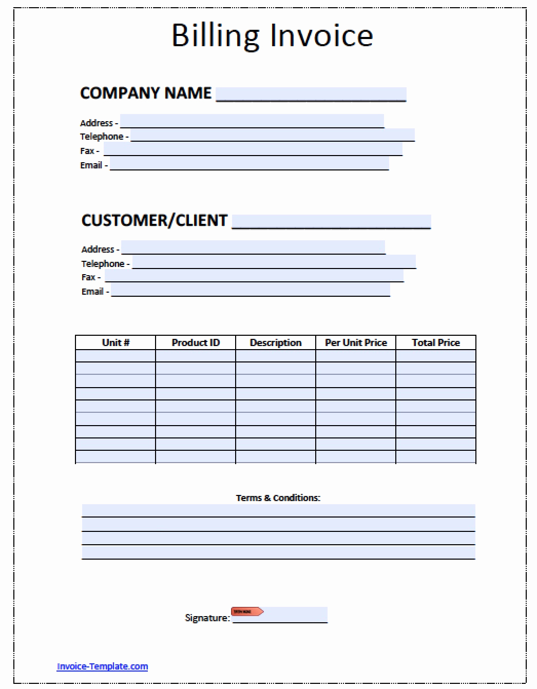Microsoft Invoice Template Free New Free Blank Invoice Template for Excel