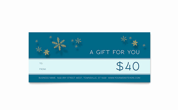 Microsoft Publisher Certificate Template Beautiful Golden Snowflakes Gift Certificate Template Word & Publisher