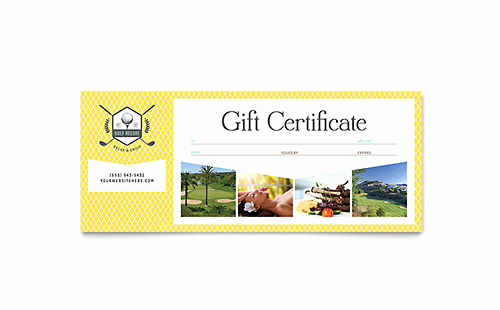 Microsoft Publisher Certificate Template Beautiful Golf Resort Gift Certificate Template Word & Publisher