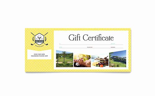 Microsoft Publisher Certificate Template Beautiful Golf Resort Gift Certificate Template Word & Publisher