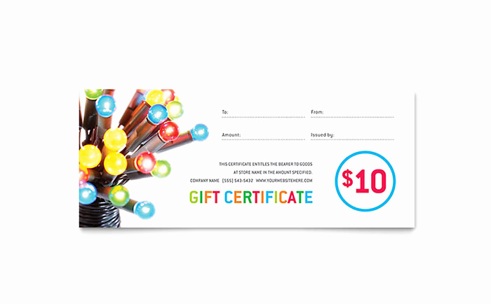 Microsoft Publisher Certificate Template Best Of Christmas Lights Gift Certificate Template Word & Publisher
