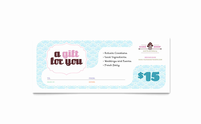 Microsoft Publisher Certificate Template Elegant Bakery & Cupcake Shop Gift Certificate Template Word