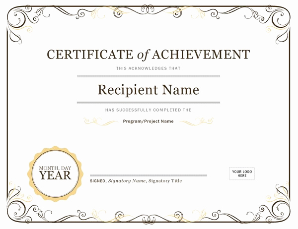 Microsoft Word Certificate Template Free Awesome Certificate Of Achievement