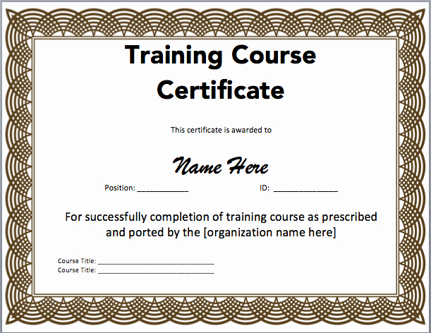 Microsoft Word Certificate Template Free Awesome Training Certificate Template Microsoft Word Templates