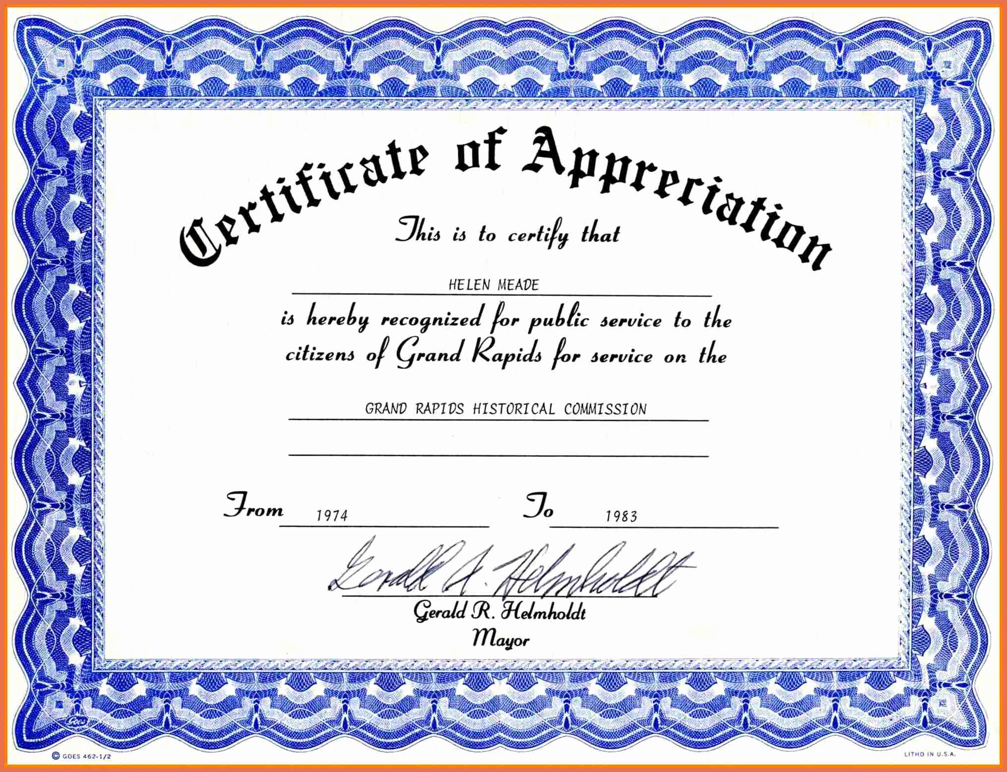 Microsoft Word Certificate Template Free Lovely Certificate Appreciation Template Free Download