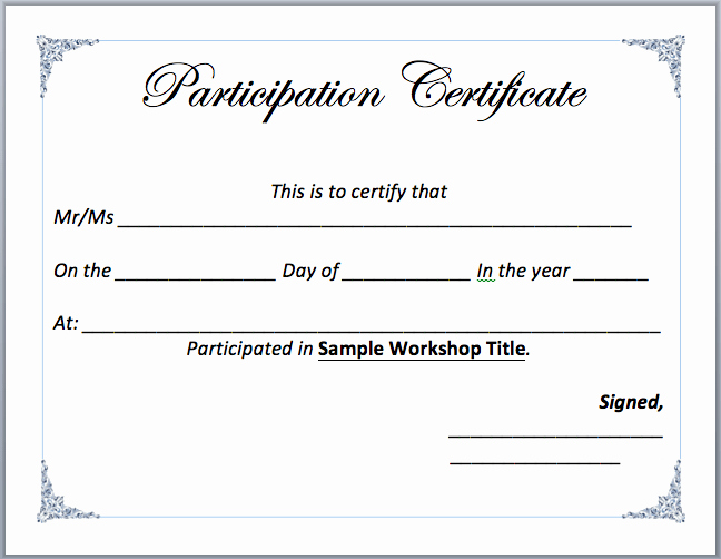 Microsoft Word Certificate Template Free New Workshop Participation Certificate Template Word