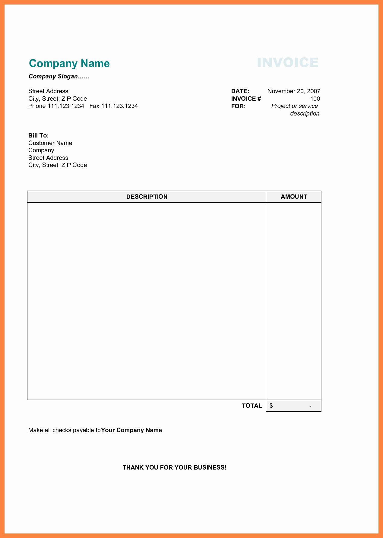 Microsoft Word Invoice Template Free Awesome Free Printable Business Invoice Template Invoice format