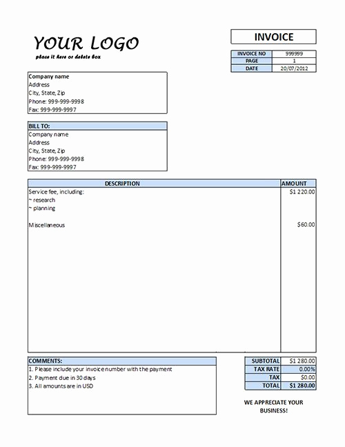 Microsoft Word Invoice Template Free Lovely Free Downloads Invoice forms