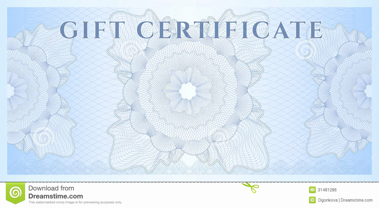 Money Gift Certificate Template New Blue Gift Certificate Voucher Template Pattern Stock