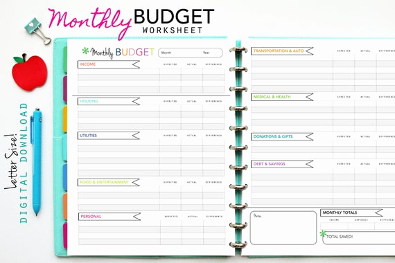 Monthly Budget Template Pdf Best Of Monthly Budget Worksheet Printable Planner Inserts Pdf