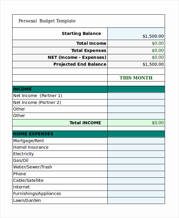 Monthly Budget Template Pdf Unique Personal Bud Template