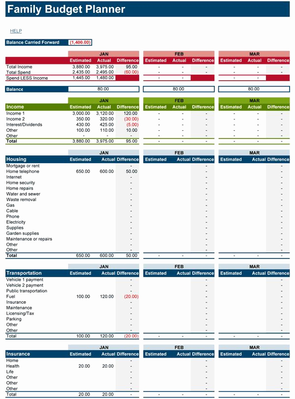 Monthly Family Budget Template Beautiful Download Free Family Bud Spreadsheet for Microsoft