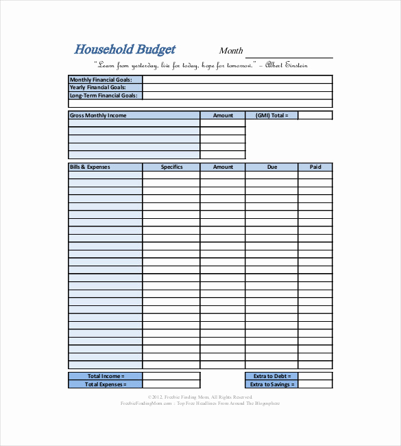 Monthly Family Budget Template New 13 Household Bud Templates Free Sample Example