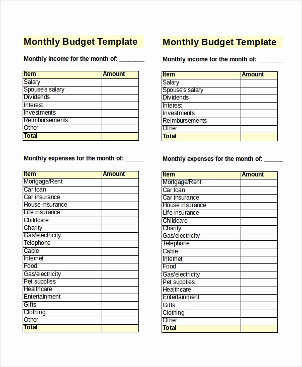 Monthly Family Budget Template New 30 Excel Monthly Bud Templates Word Excel Pages