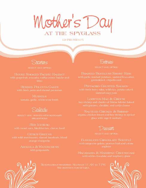 Mothers Day Menu Template Awesome Mothers Day event Menu