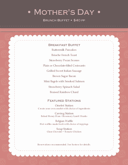 Mothers Day Menu Template Best Of Brunch for Mothers Day Menu