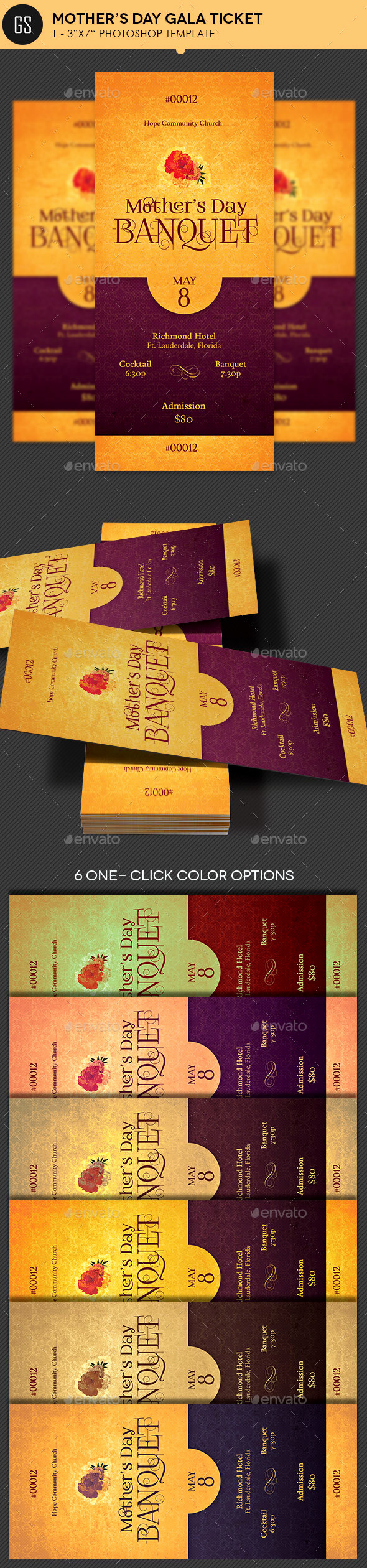Mothers Day Menu Template Elegant Mothers Day Gala Ticket Shop Template by Godserv