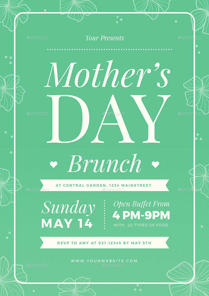 Mothers Day Menu Template Fresh Mothers Day Brunch Flyer 02 by Vynetta