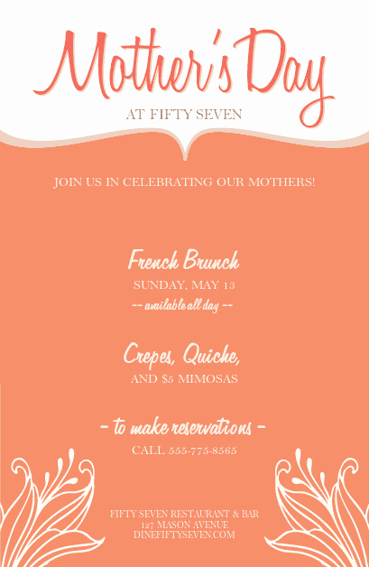 Mothers Day Menu Template Fresh Mothers Day event Flyer
