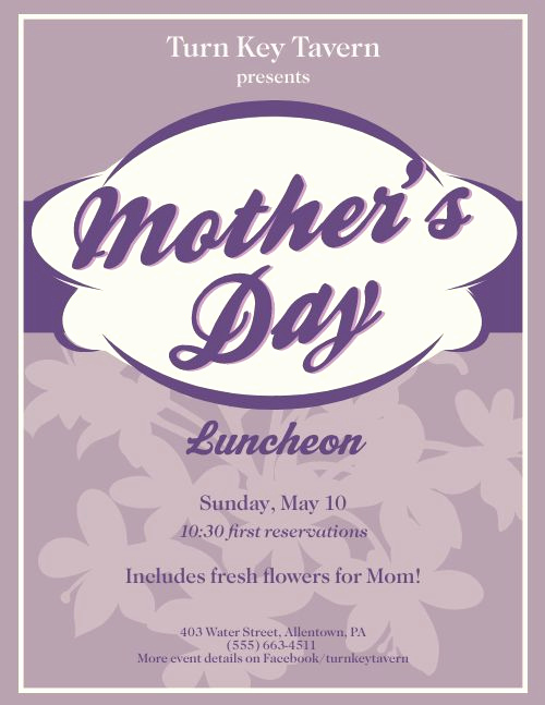 Mothers Day Menu Template Inspirational Mothers Day Poster