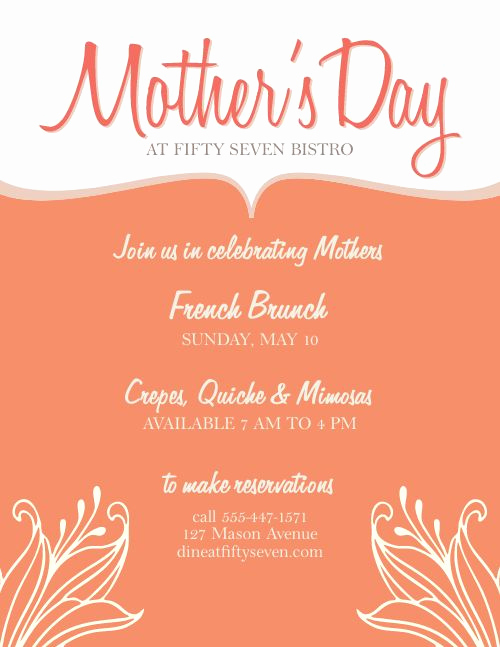 Mothers Day Menu Template Unique Mothers Day event Flyer