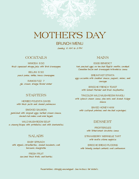 Mothers Day Menu Template Unique Upscale Mothers Day Menu