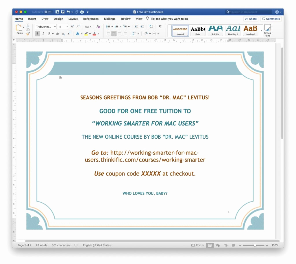 Ms Word Gift Certificate Template Fresh Dr Mac S Last Minute Gift Guide the Mac Observer