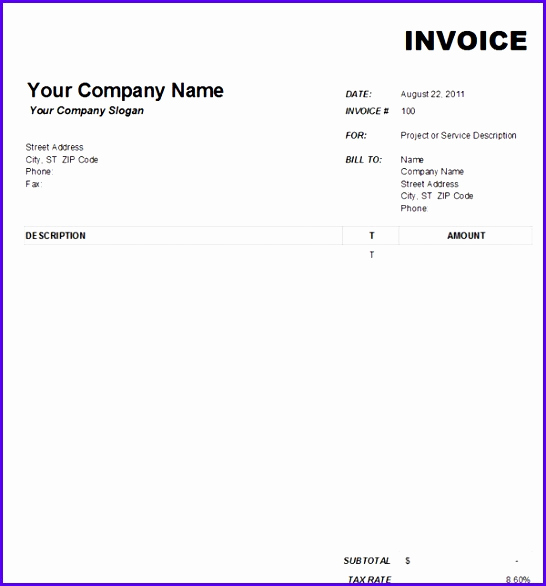 Ms Word Invoice Template Download Elegant 10 Microsoft Excel Invoice Template Free Download
