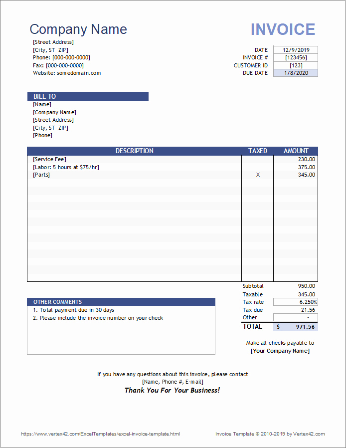 Ms Word Invoice Template Download New Free Invoice Template for Excel