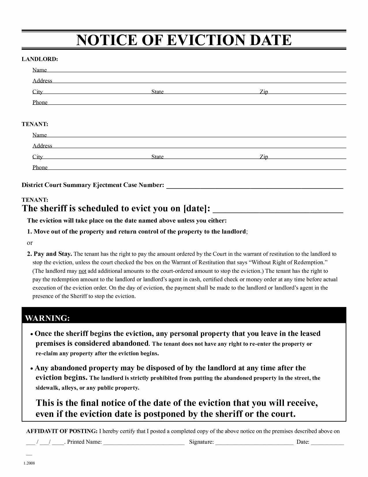 Nc Eviction Notice Template Awesome Free Eviction Notice Template