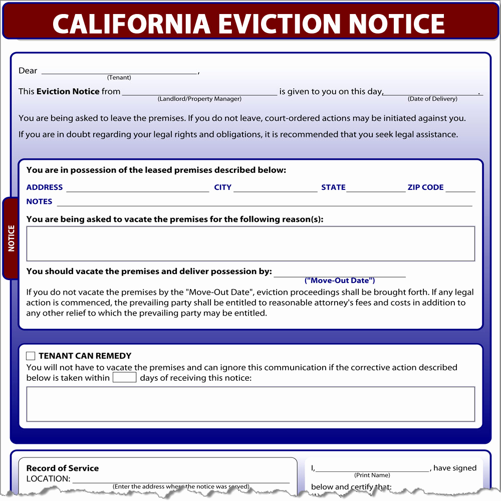 Nc Eviction Notice Template Best Of California Eviction Notice